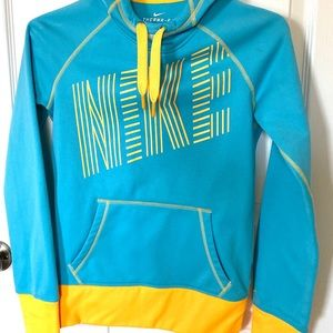 Women's Blue and Yellow Nike Hoodie